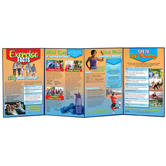 Exercise Facts four-panel health education folding display for teaching physical activity benefits and recommendations, 79293
