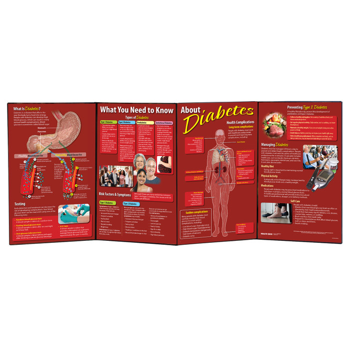 What You Need to Know About Diabetes folding display for health education from Health Edco, diabetes teaching tools, 79302