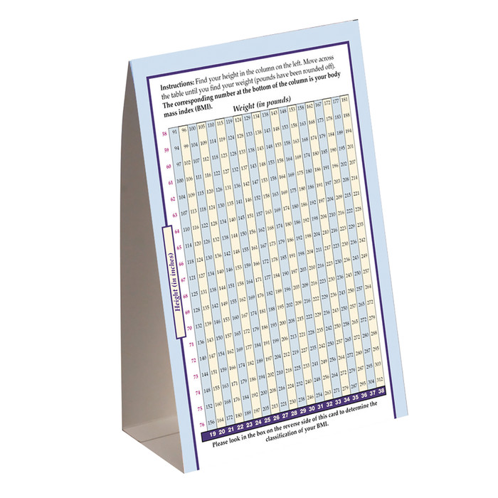 Body Mass Index (BMI) Tent Card for health and physical activity education by Health Edco to teach about body weight