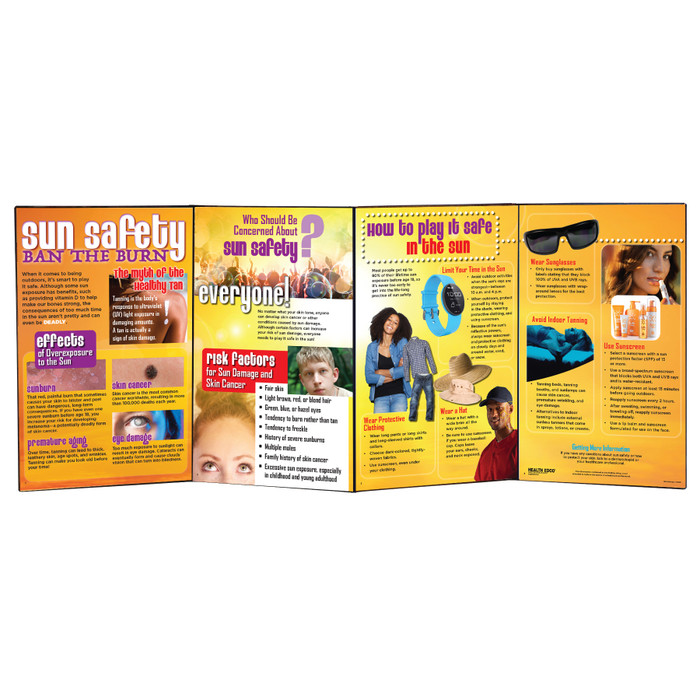 Sun Safety Ban the Burn Folding Display for health education by Health Edco with tips to protect skin from skin cancer, 79323