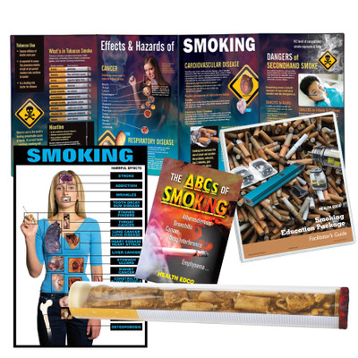 Smoking Education Package, smoking and tobacco teaching materials with displays, booklets, and chart, Health Edco, 79368