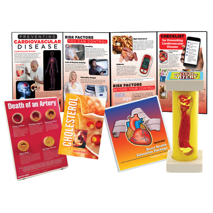 Heart Health Education Package for health education by Health Edco, displays, artery models, booklets, and guide, 79372