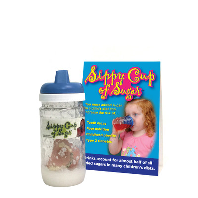 Sippy Cup of Sugar Display for parenting education by Childbirth Graphics, teaching display about sugar in kids' diet, 79489
