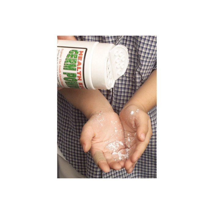 Sprinkling Health Edco Germ Powder that glows under a UV Lamp to show proper hand washing for health education, 79760