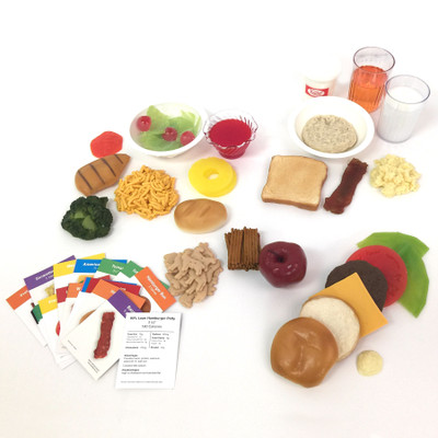 Three Square Meals Faux Foods Package (24), fake foods choices portion sizes food nutrition cards, Health Edco, 79770