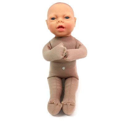 Fetal Model, soft cloth beige baby model sitting upright with snaps to connect placenta model, Childbirth Graphics, 79814