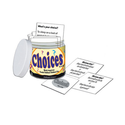 Choices in a Jar, 101 question cards in small jarrequiring decisions discussion, Health Edco, 79854