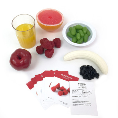 Fruit Faux Food Kit, 7 fake foods with nutrition food cards fruit portions, Health Edco, 79975