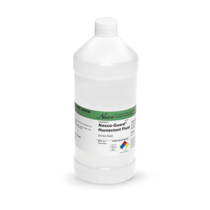 Humectant Fluid Quart bottle, white plastic bottle of fluid with humectant label, Health Edco, 84378
