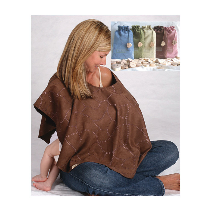L'ovedbaby Nursing Shawl Keen Green, blonde female breastfeeding baby discreetly brown shawl other colors in bags, Childbirth Graphics, 85031