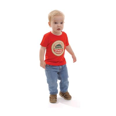 Dairy Label Infant T-Shirt 18 months, blond toddlerred tshirt dairy label imprinted, Childbirth Graphics, 85058