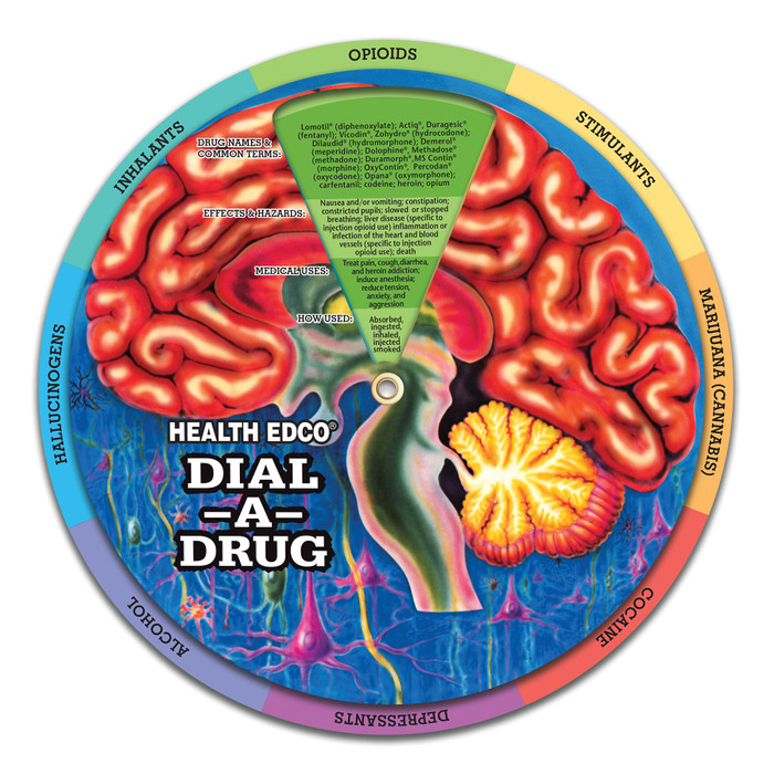 """8"""" Dial-A-Drug Wheel for health education by Health Edco to teach about drug categories and common drugs of abuse, 85100"""