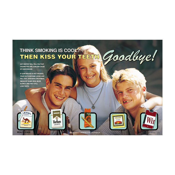 Smoking & Tooth Loss Poster, kiss your teeth goodbye anti-smoking poster 3 teens & tobacco products, Health Edco, 89045