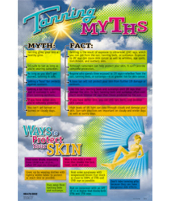 Tanning Myths Chart, rainbow colored chart highlights dangers of tanning beds sun lamp skin damage, Health Edco, 89191