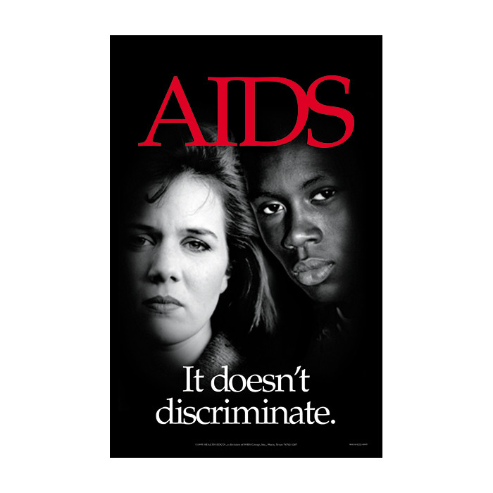 AIDS It doesn't discriminate poster, red AIDS imposed over black and white teens, Health Edco, 89414