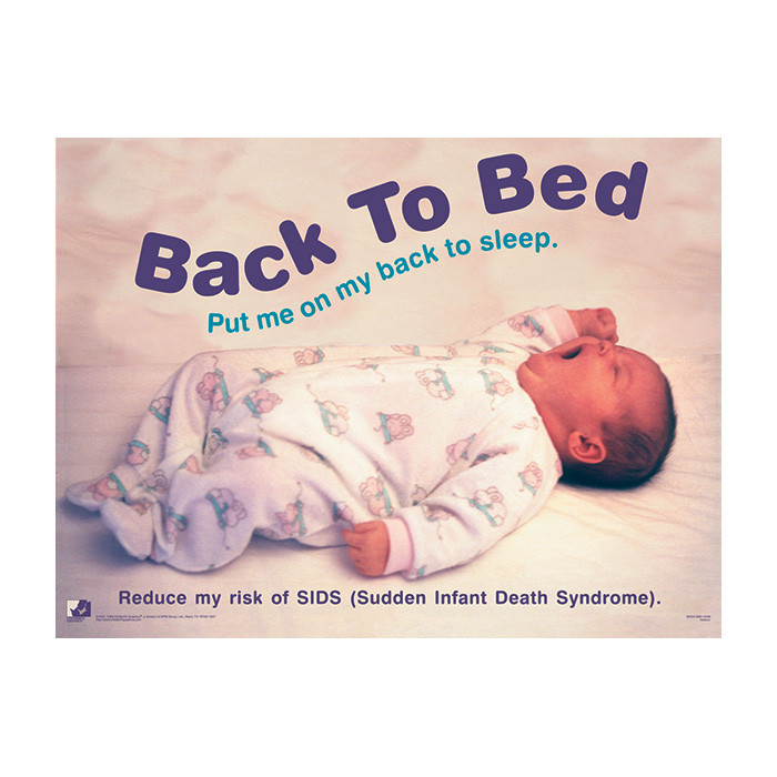 Back to Bed Poster, baby yawning wearing sleeper on back in baby bed, Childbirth Graphics, 89553