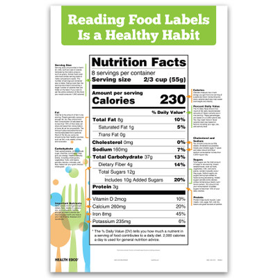 Reading Food Labels Chart for health and nutrition education from Health Edco, health education materials and models, 90954