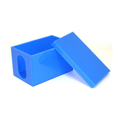 Blue Box With Lid for Fetal Monitor, blue plexiglas opaque rectangular box with lid,Health Edco, 93412