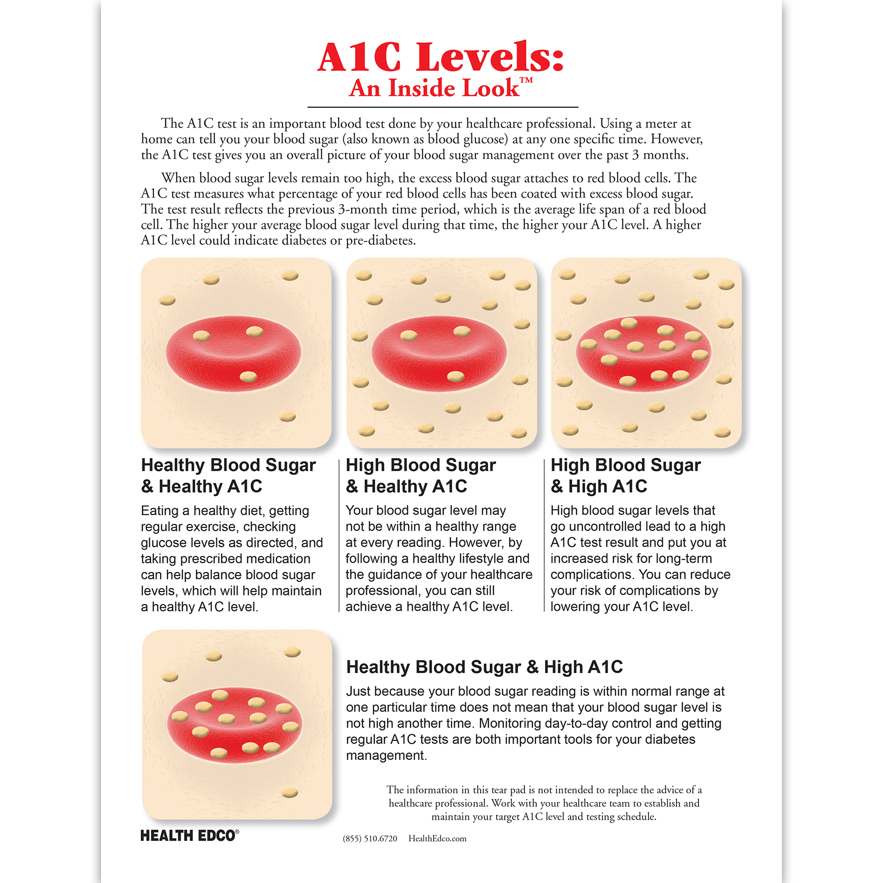 a1c levels & diabetes: an inside look tear pad | health edco