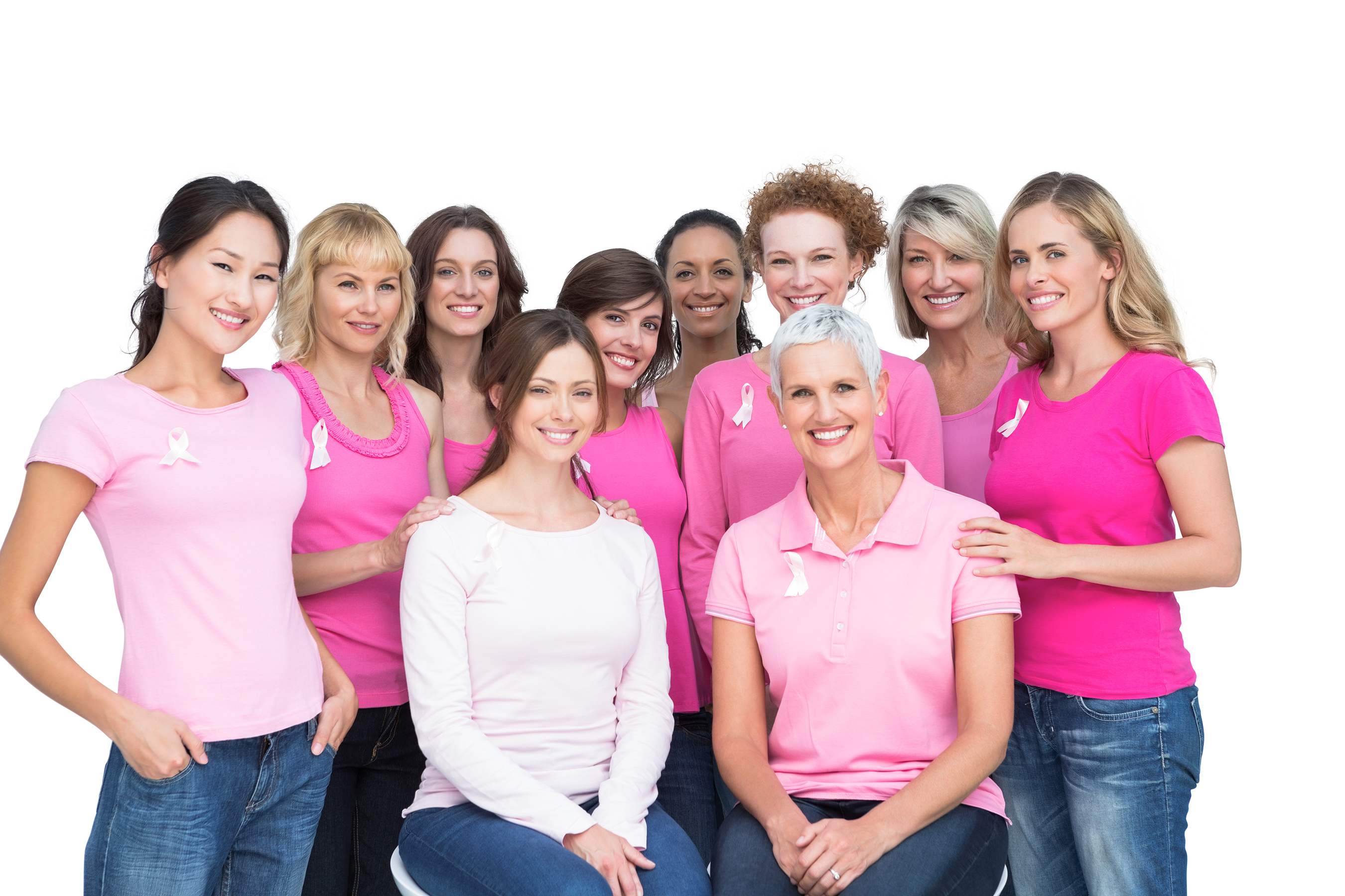Group of women raising breast cancer awareness